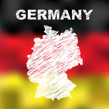 Abstract german map on flag background. Vector illustration of abstract german map and flag