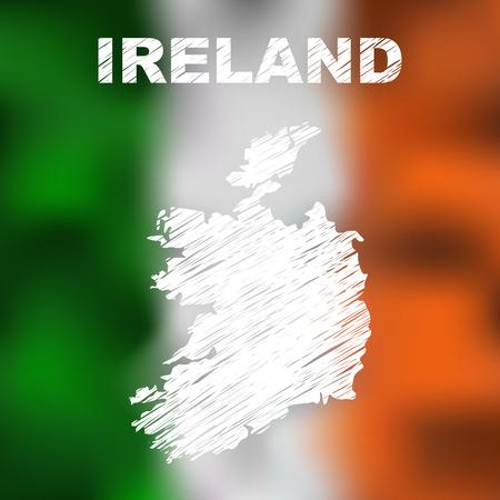 irish map: Abstract irish map on flag background. Vector illustration of abstract irish map and flag. Map of Ireland