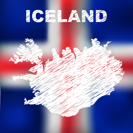 the icelandic flag: Abstract icelandic map on flag background. Vector illustration of abstract icelandic map and flag. Map of Iceland Illustration