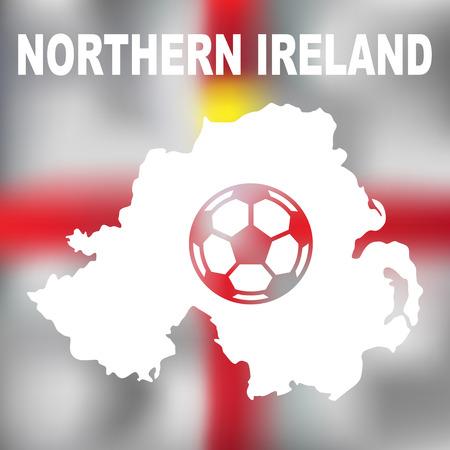 irish map: Abstract north irish map on flag background. Vector illustration of abstract north irish map and flag Illustration