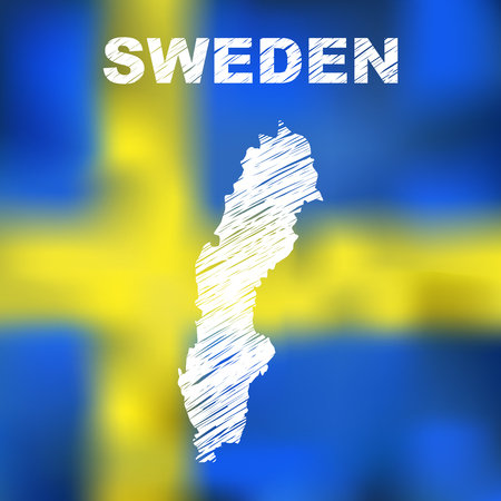 education in sweden: Abstract swedish map on flag background. Vector illustration of abstract swedish map and flag. Map of Sweden