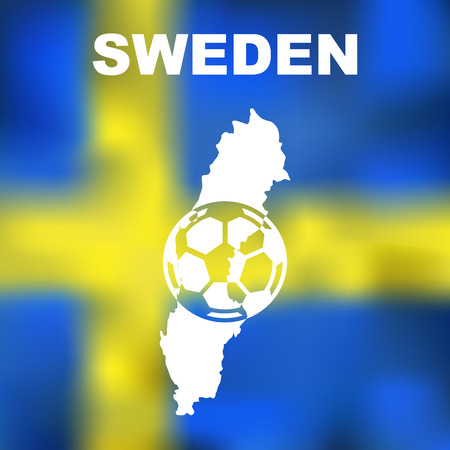 Abstract swedish map on flag background. Vector illustration of abstract swedish map and flag