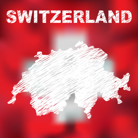 swiss: Abstract swiss map on flag background. Vector illustration of abstract swiss map and flag. Map of Switzerland
