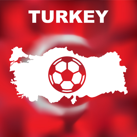 world championships: Abstract turkish map with football on flag background. Vector illustration of abstract turkish map and flag. Map of Turkey Illustration
