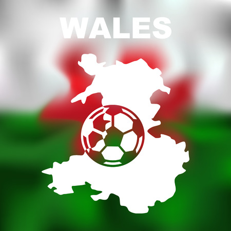 wales: Abstract wales map with football on flag background. Vector illustration of abstract wales map and flag