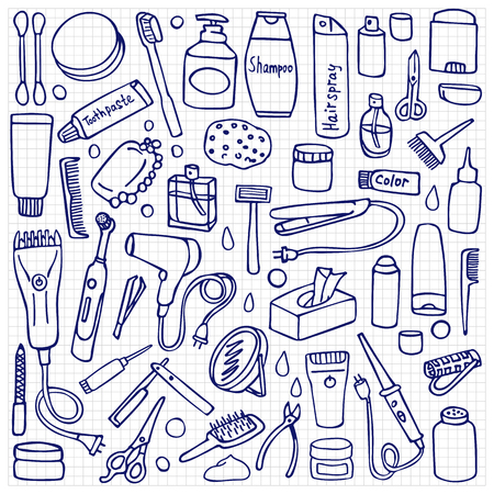 salon background: Personal care set on white background. Hygiene and hair salon elements on squared paper