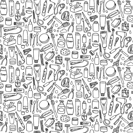 Personal care seamless pattern on white background. Wallpaper with hygiene and hair salon elements