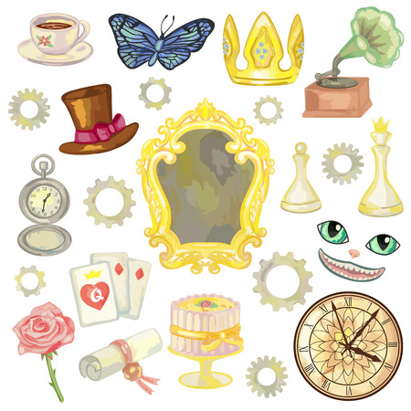 looking through an object: Fairy tale elements on white background. Vector illustration of wonderland objects