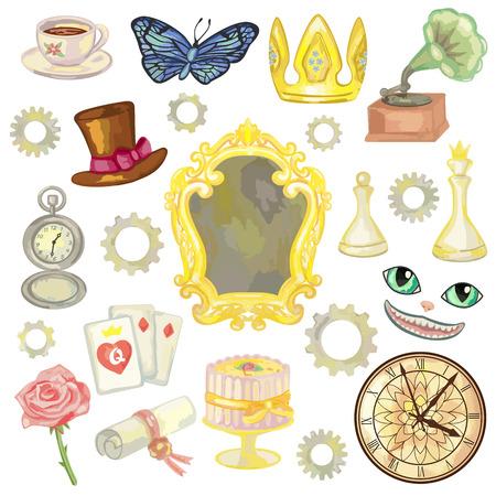 Märchen-Elemente auf weißem Hintergrund. Vektor-Illustration von Märchenland Objekte Standard-Bild - 60055464