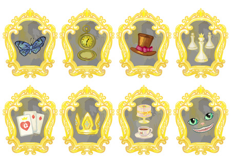 looking through an object: Mirrors with fairy tale elements on white background. Vector illustration of wonderland objects Illustration