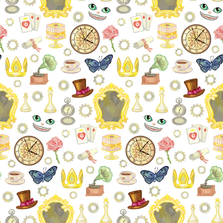 Seamless pattern with fairy tale elements on white background. Vector illustration of wallpaper with wonderland objects