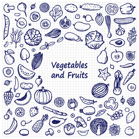 squared paper: Doodle Frame from vegetables and fruits on squared paper. Vegetarian hand drawn background
