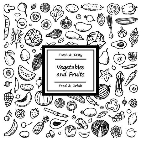 Doodle kaart uit groenten en fruit. Vegetarisch hand getekende achtergrond