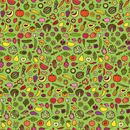 jointless: Seamless pattern with hand drawn vegetables and fruits elements on green background Illustration