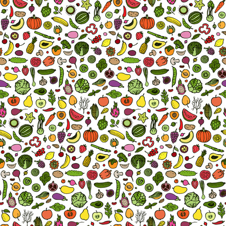jointless: Seamless pattern with hand drawn vegetables and fruits elements on white background