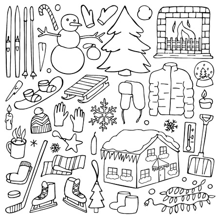 Winter hand drawn elements. Doodle winter objects