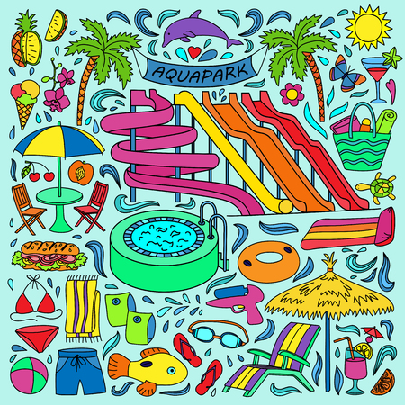 Hand drawn aquapark set. Water entertainment objects and elements. Doodle colorful page