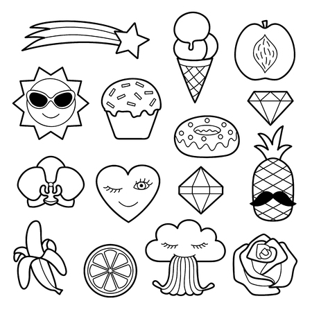 white patches: Fashion coloring patches. Pin badges set. Black and white stickers collection. Appliques for denim or clothes.