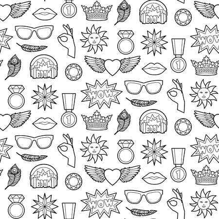 white patches: Seamless pattern of fashion coloring patches. Pin badges wallpaper. Black and white stickers collection. Textile print with appliques for denim or clothes.