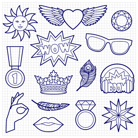 white patches: Fashion coloring patches. Pin badges set. Black and white stickers collection. Sketch of appliques for denim or clothes on squared paper.