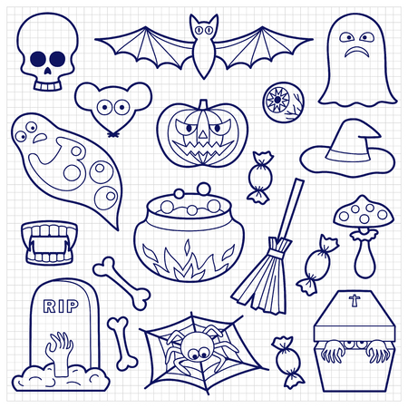 white patches: Halloween coloring patches. Pin badges set. Black and white stickers collection. Appliques on squared paper. Illustration