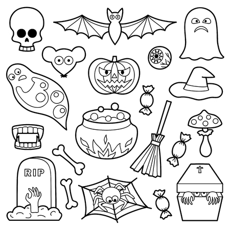 white patches: Halloween coloring patches. Pin badges set. Black and white stickers collection. Appliques for denim or clothes.