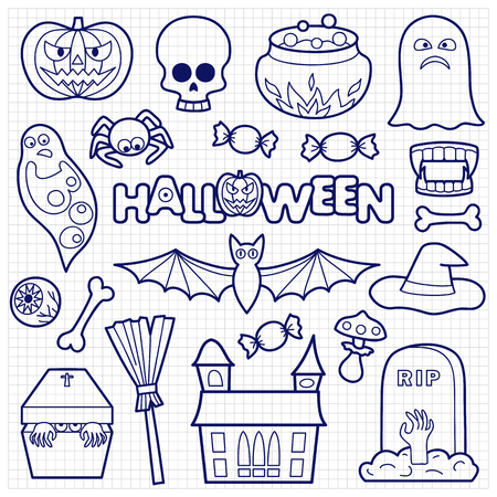 squared paper: Halloween coloring patches. Pin badges set. Black and white stickers collection. Appliques on squared paper. Illustration