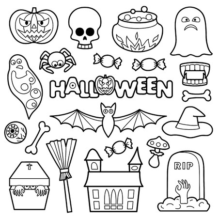 Halloween Coloring Patches. Pin Badges Set. Black And White Stickers ...