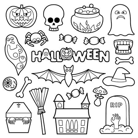 Nahtlose Muster Mit Halloween Färbung Patches. Pin Abzeichen Set ...