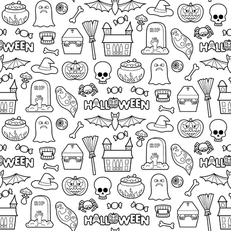 white patches: Seamless pattern with Halloween coloring patches. Pin badges set background. Black and white stickers wallpaper. Textile print for clothes.