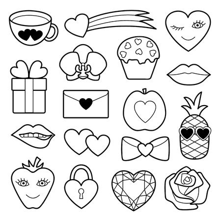 sew: Romantic Patch Set with hearts, flowers and love objects. Fashion patches. Pin badges set. Stickers collection. Appliques for denim or clothes.