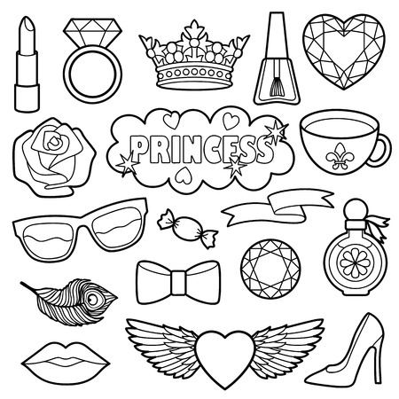 white patches: Princess fashion patches. Black and white stickers collection. Appliques for denim or clothes.