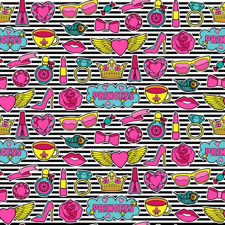 Princesa de la moda sin patrón. colección de pegatinas de colores. Apliques de mezclilla o ropa. Parches fondo rayado Foto de archivo - 65578332