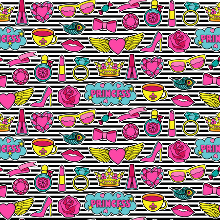 Princess fashion Seamless Pattern. Colorful stickers collection. Appliques for denim or clothes. Patches striped background