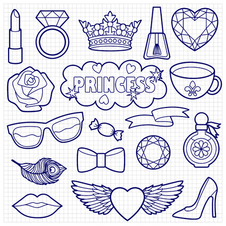 squared paper: Princess fashion patches. Stickers sketch on squared paper. Appliques for denim or clothes.