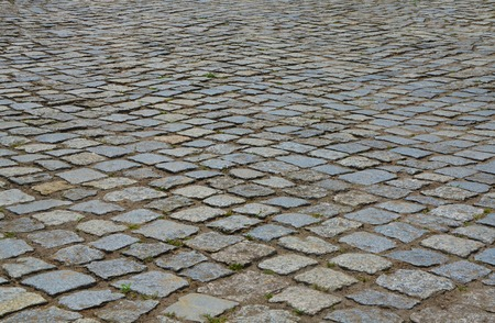 cobblestone road: Paving stone perspective surface. Old cobblestone road