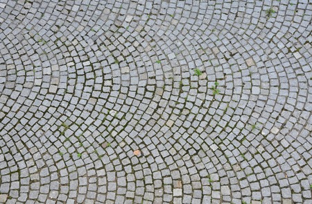cobblestone road: Paving stone surface with plants. Old cobblestone road with circular pattern. Top view.