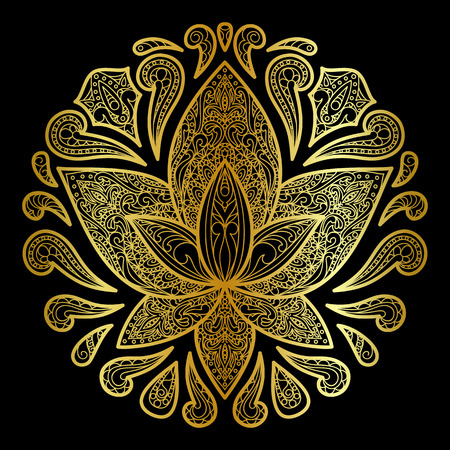 Lotus sign. Floral symbol for amulets, textile prints, postcards, luxory greeting cards