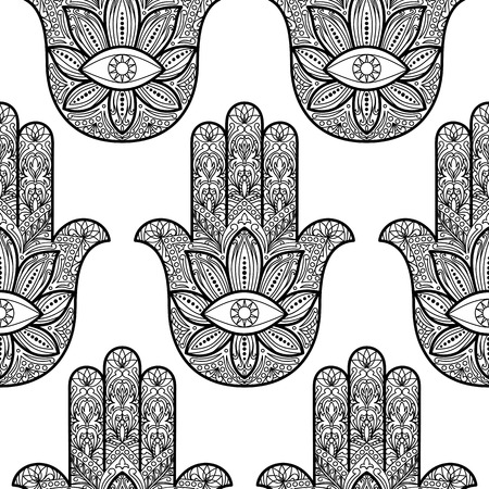 fatima: Ornate  hamsa seamless pattern. Hand of Fatima. Arabic, Indian and Jewish amulet wallpaper. Black and white coloring page. Sign for tattoo, textile prints, mascots