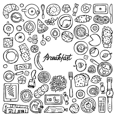 food drink: doodle Breakfast pattern. Flat lay squared composition. Top view of food, drink and kitchen equipment with lettering. Coloring page.