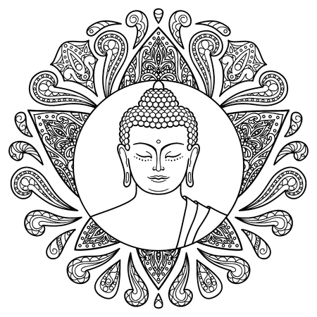 Buddha head with lotus decoration. Sign for tattoo, textile print, mascots and amulets. Black and white coloring page Ilustração