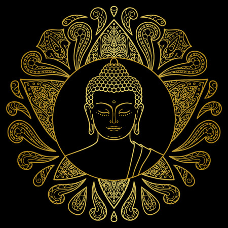 buddha head: gold Buddha head with lotus decoration. Sign for tattoo, textile print, mascots and amulets. Illustration