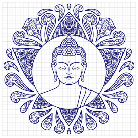 Buddha head with lotus decoration. Sketch for tattoo, textile print, mascots and amulets on squared paper. Coloring page Vectores