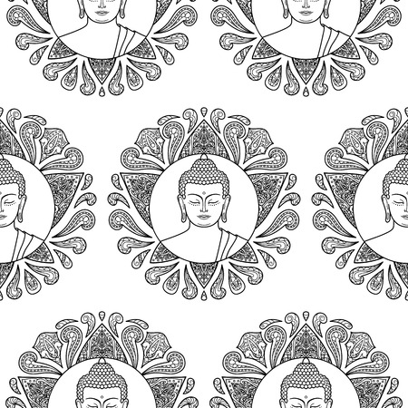 buddha head: Seamless pattern of  Buddha head with lotus decoration. Wallpaper with tattoo, textile print, mascots and amulets. Black and white coloring page