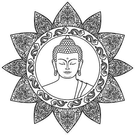La Cabeza De Buda Con La Decoración De Loto. Boceto De Tatuaje ...