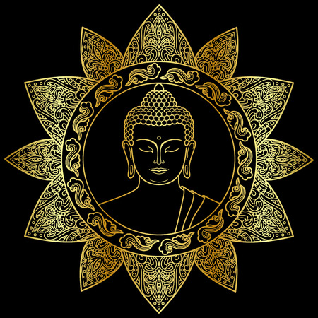 Buddha head with floral decoration. Sign for tattoo, textile print, mascots and amulets. Gold and black symbol. Stock Illustratie
