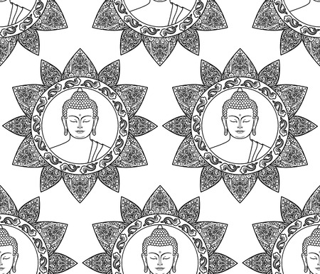 buddha head: Seamless pattern of  Buddha head with floral decoration. Wallpaper for textile print, mascots and amulets. Black and white coloring page Illustration