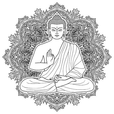 Assis Bouddha en position Lotus sur fond rond floral. Connectez-vous pour le tatouage, impression textile, mascottes et amulettes. Coloriage Esoteric.