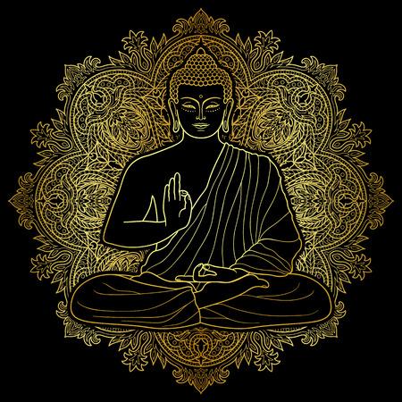 Bouddha assis en position du lotus sur fond rond floral. Connectez-vous pour les textiles imprimés, des mascottes et des amulettes. symbole d'or sur le noir