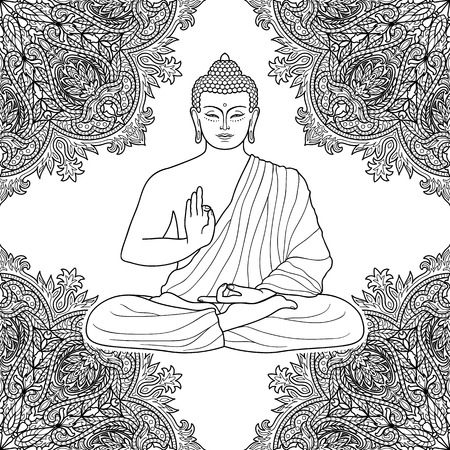 budda: Sitting Buddha in Lotus position on floral background. Sign for tattoo, textile print, mascots and amulets. Esoteric coloring page. Outline black and white symbol.